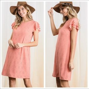 Coral dress with lining.